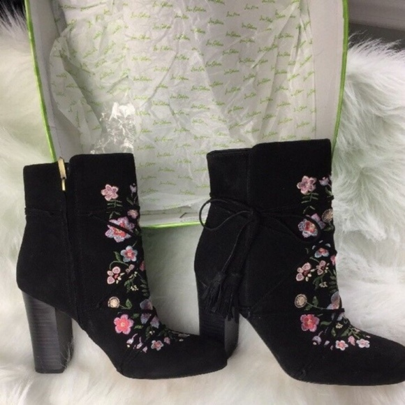 a48ad0021 Sam Edelman Boots New 7.5 Winnie Embroidered Black
